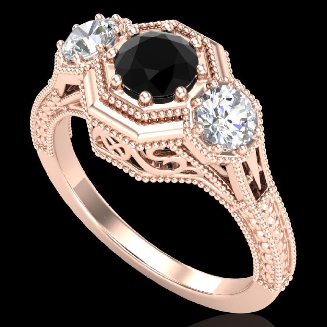 1.05 CTW Fancy Black Diamond Solitaire Art Deco 3 Stone