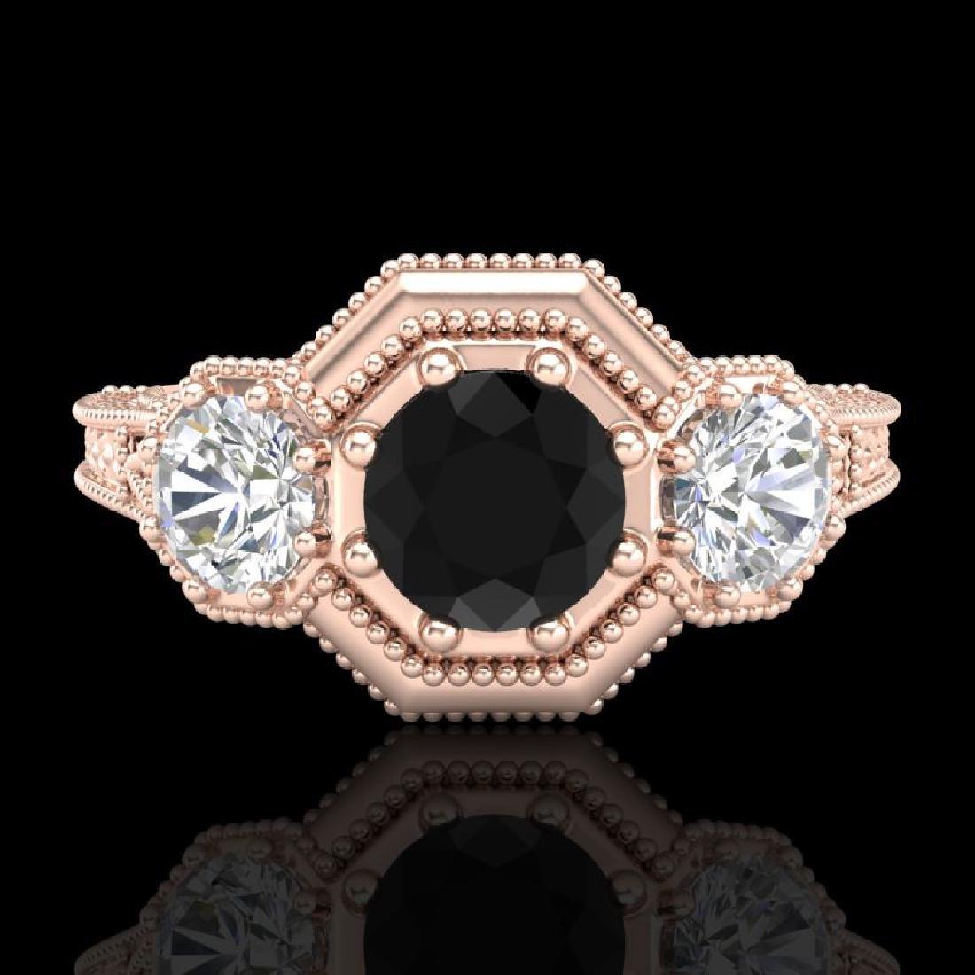 1.05 CTW Fancy Black Diamond Solitaire Art Deco 3 Stone - 2