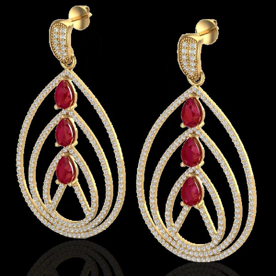 4 CTW Ruby & Micro Pave VS/SI Diamond Designer Earrings