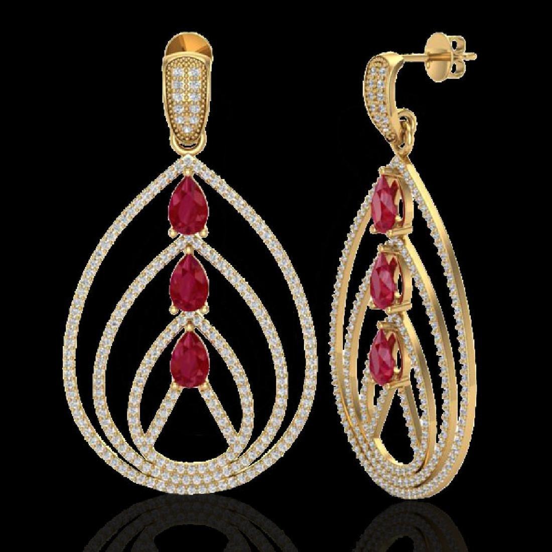 4 CTW Ruby & Micro Pave VS/SI Diamond Designer Earrings - 2