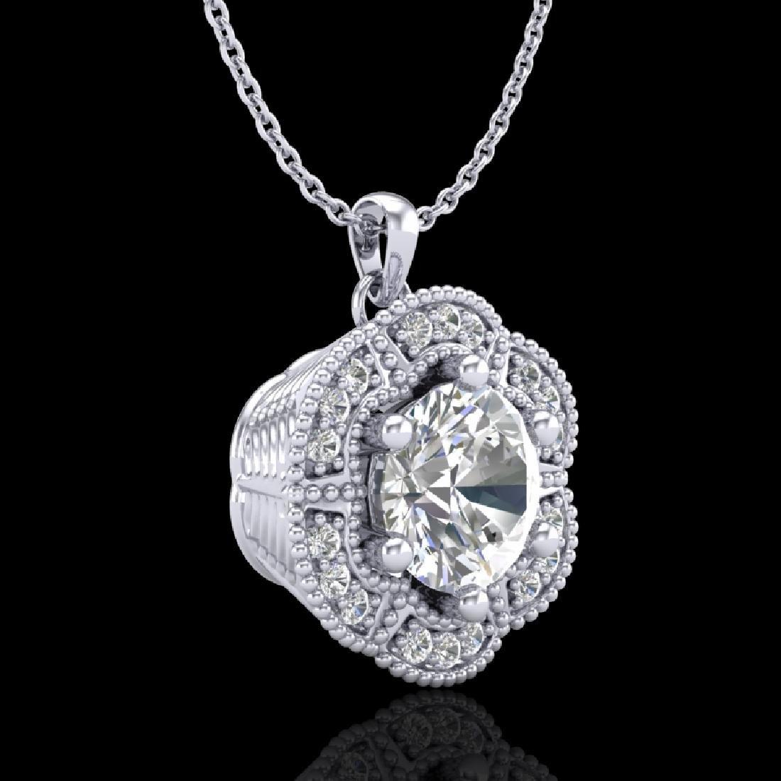 1.01 CTW VS/SI Diamond Solitaire Art Deco Stud Necklace - 3