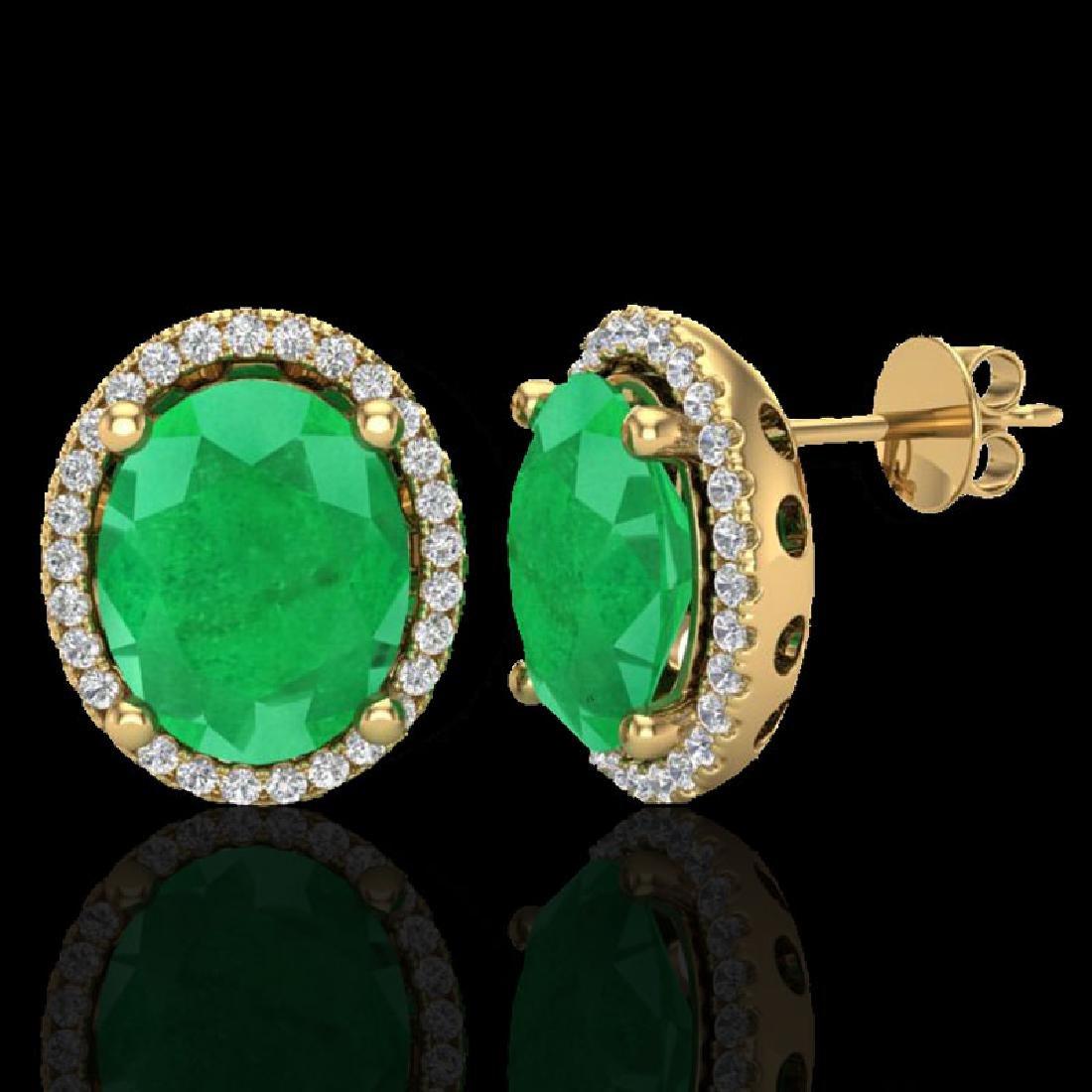6 CTW Emerald & Micro Pave VS/SI Diamond Earrings Halo - 2