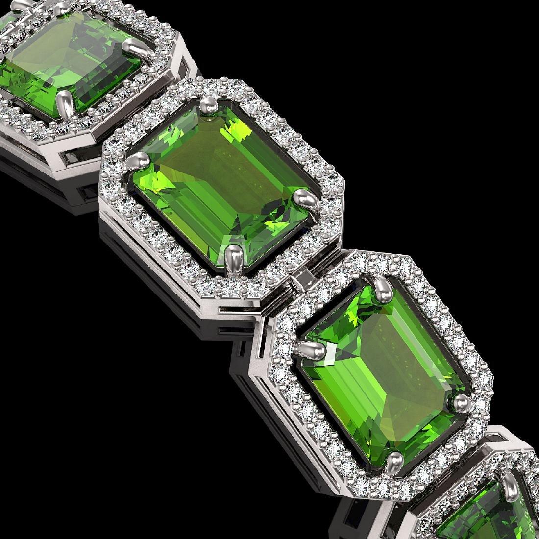 33.37 CTW Peridot & Diamond Halo Bracelet 10K White - 2