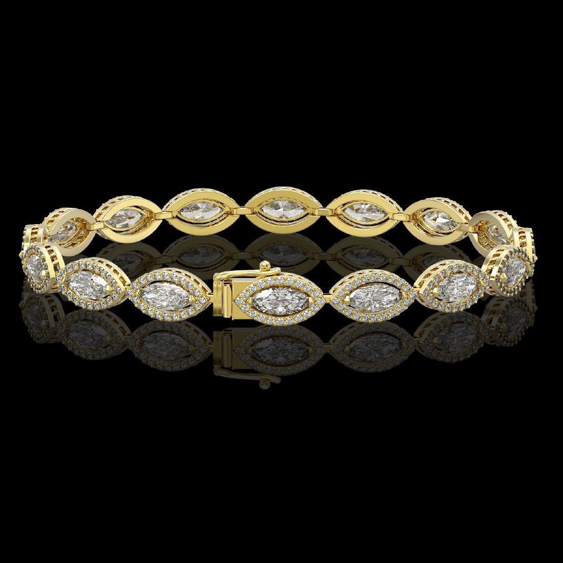 10.61 CTW Marquise Diamond Designer Bracelet 18K Yellow - 2