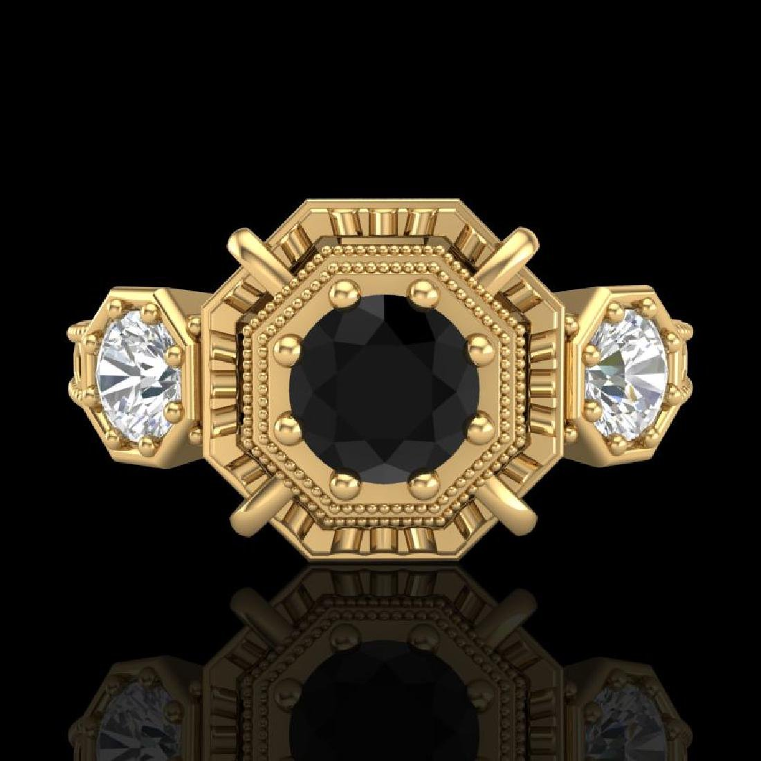1.01 CTW Fancy Black Diamond Solitaire Art Deco 3 Stone - 2