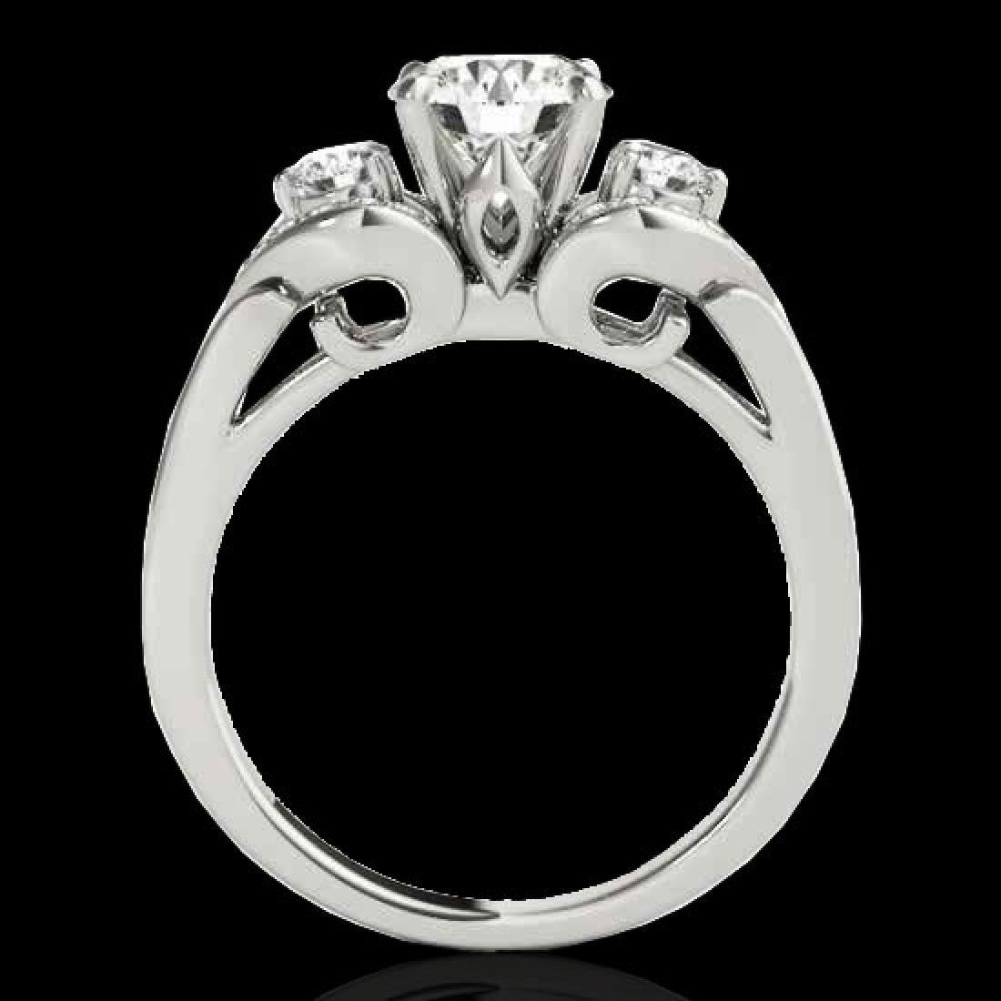 1.7 CTW H-SI/I Certified Diamond 3 Stone Ring 10K White - 2