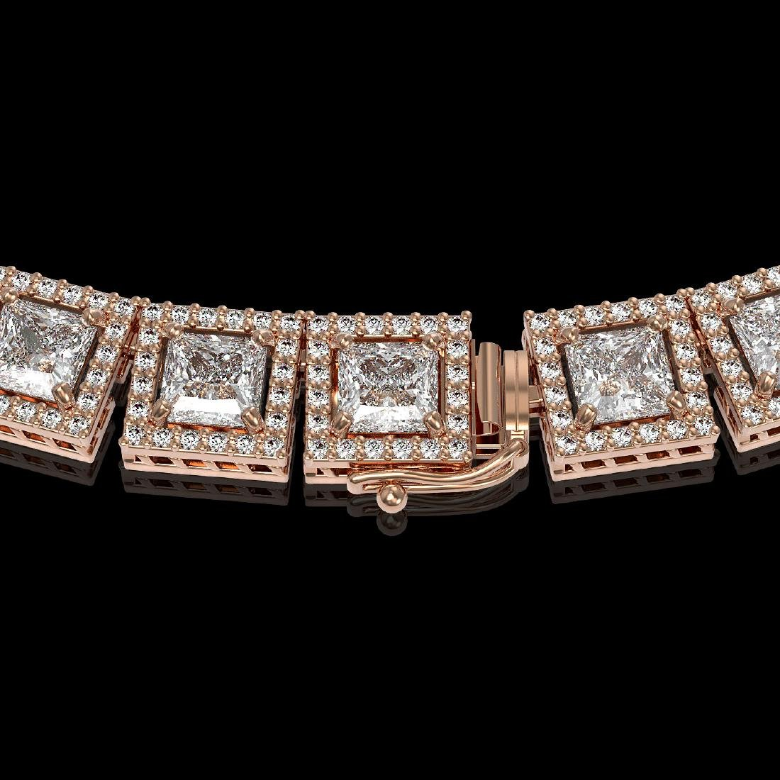 36.30 CTW Princess Diamond Designer Necklace 18K Rose - 3