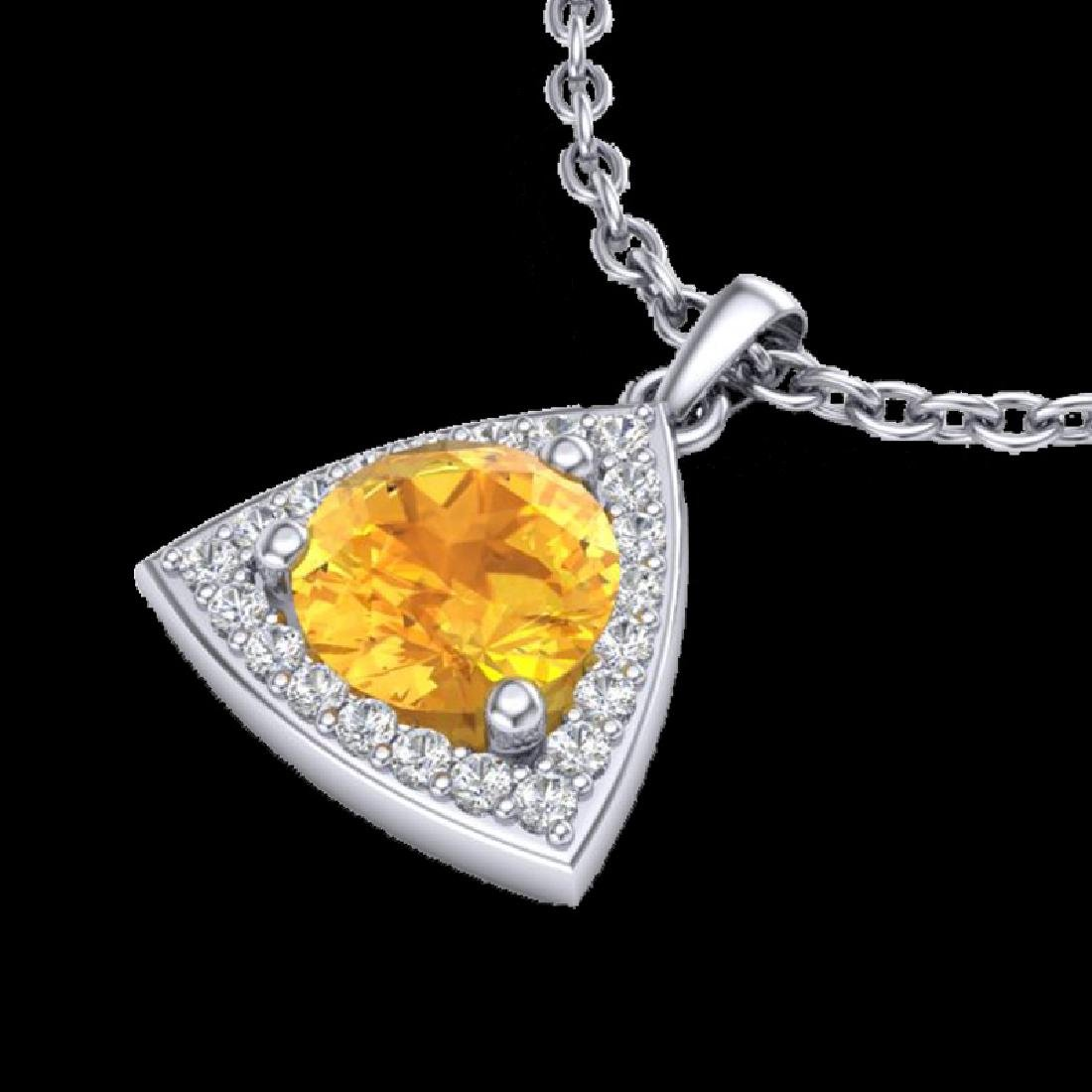 1.50 CTW Citrine & Micro Pave Halo VS/SI Diamond - 2