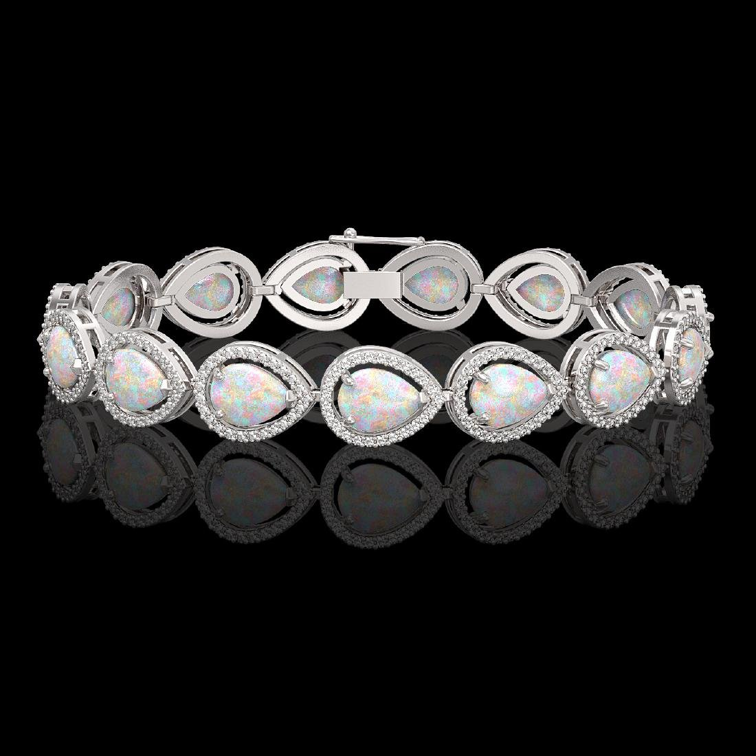 17.15 CTW Opal & Diamond Halo Bracelet 10K White Gold