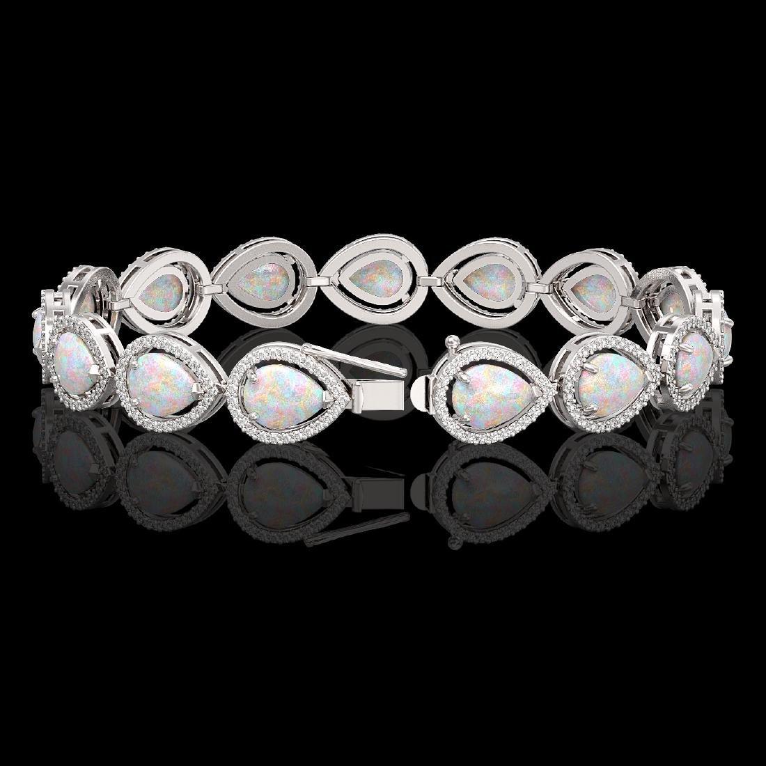 17.15 CTW Opal & Diamond Halo Bracelet 10K White Gold - 2
