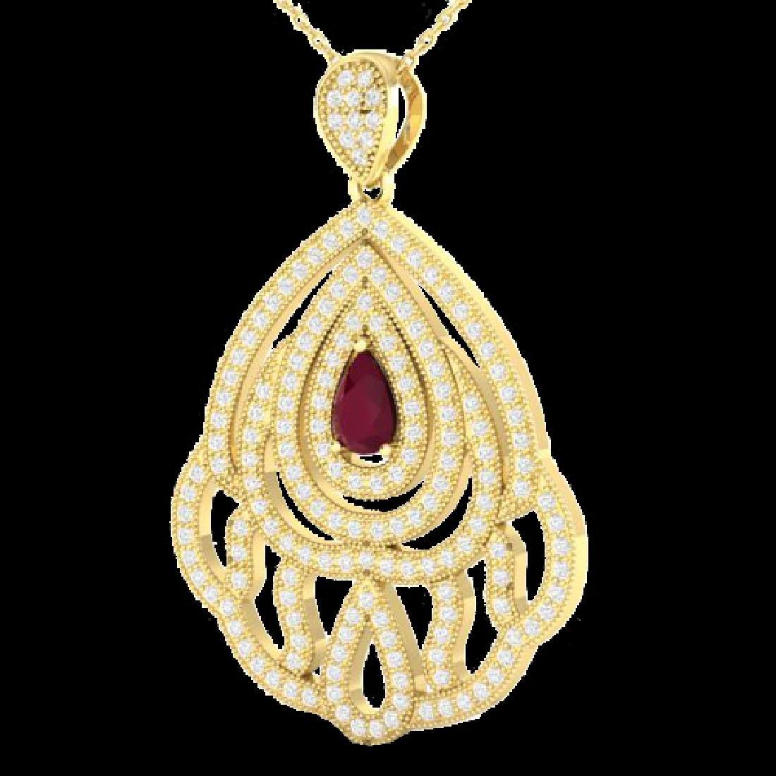 2 CTW Ruby & Micro Pave VS/SI Diamond Designer Necklace - 2