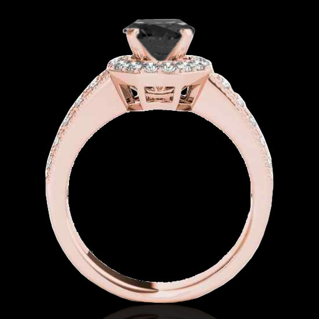 1.4 CTW Certified VS Black Diamond Solitaire Halo Ring - 2