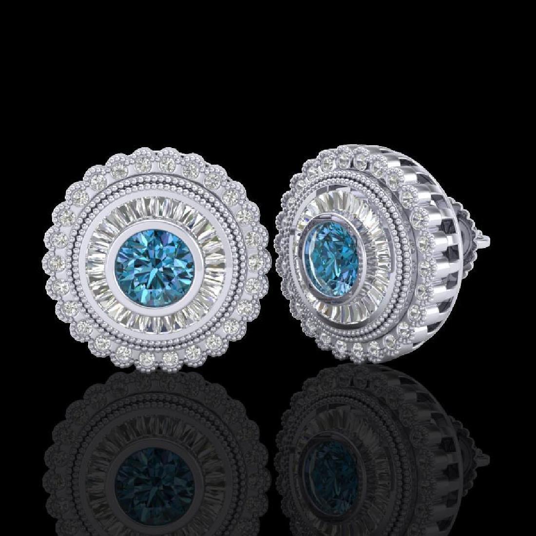 2.61 CTW Fancy Intense Blue Diamond Art Deco Stud - 2
