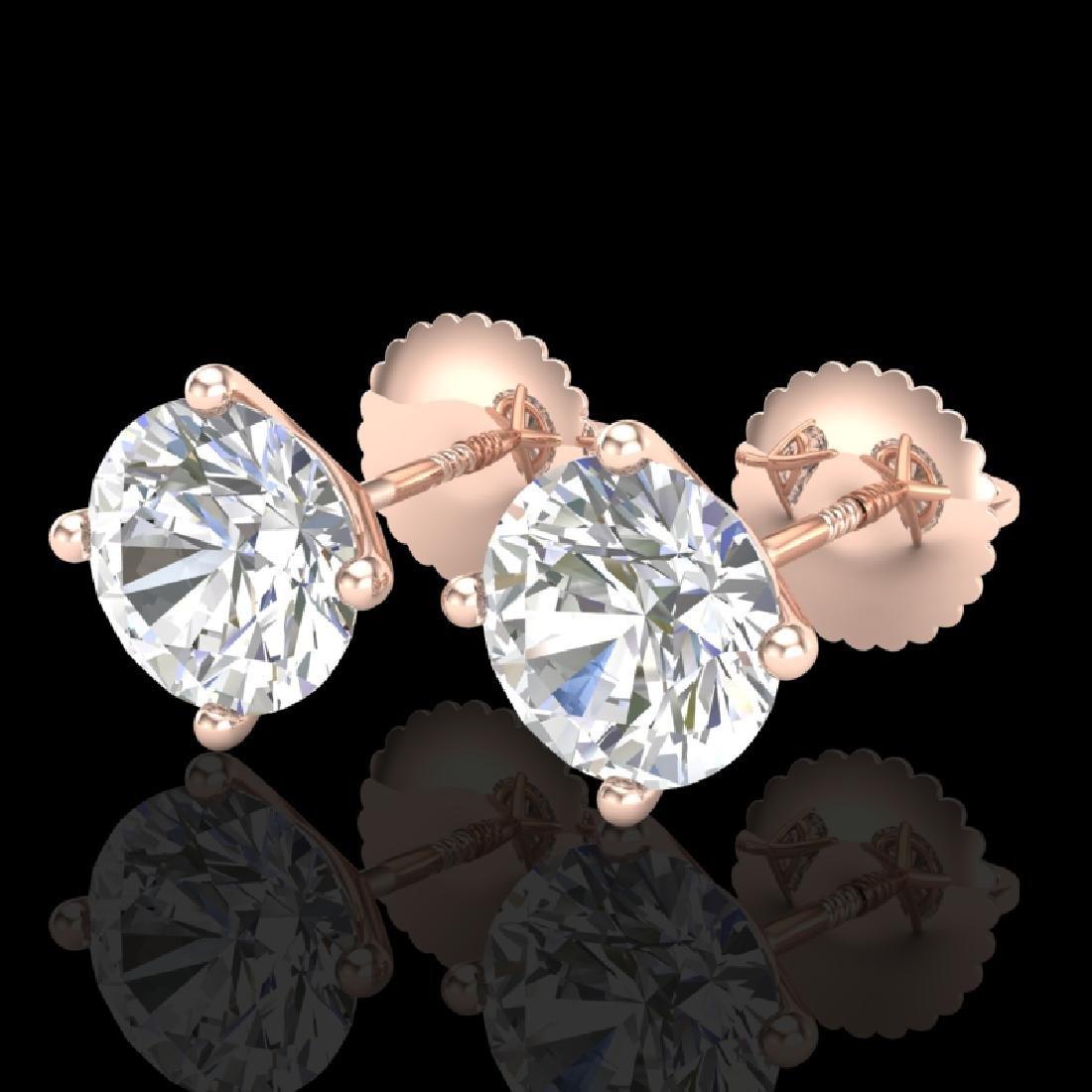 2.5 CTW VS/SI Diamond Solitaire Art Deco Stud Earrings