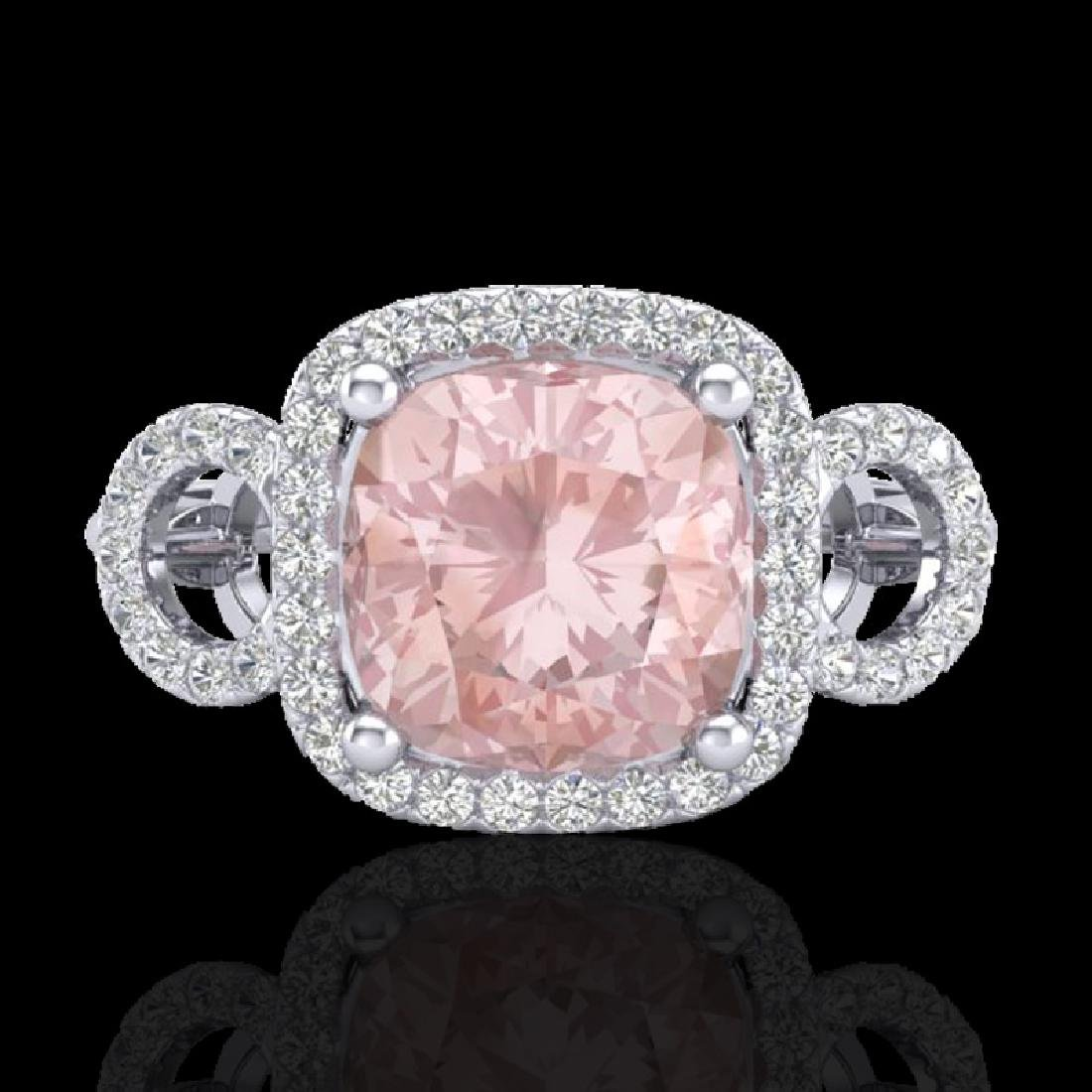 2.75 CTW Morganite & Micro VS/SI Diamond Ring 18K White