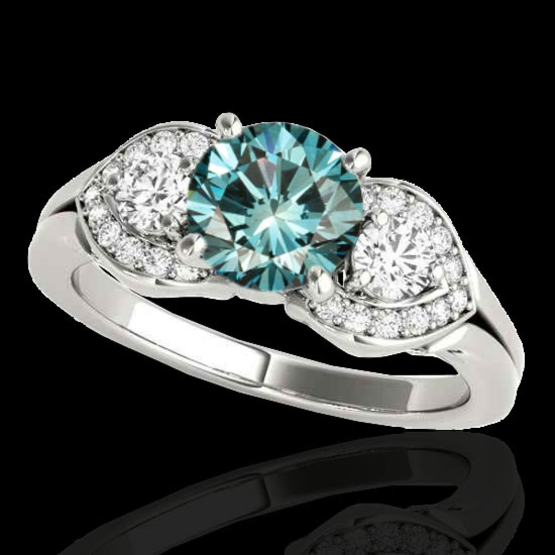 1.45 CTW SI Certified Fancy Blue Diamond 3 Stone Ring