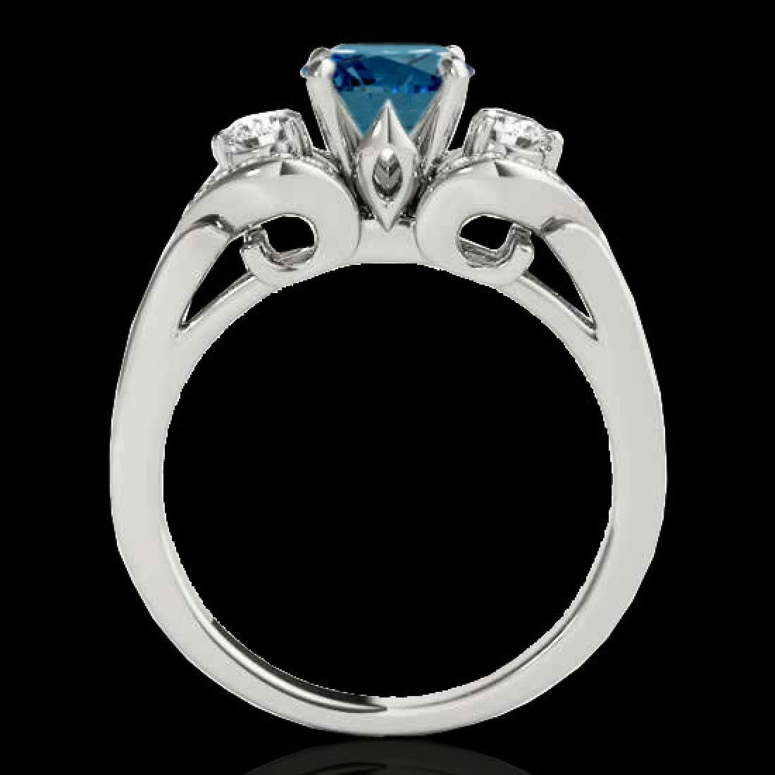 1.45 CTW SI Certified Fancy Blue Diamond 3 Stone Ring - 2