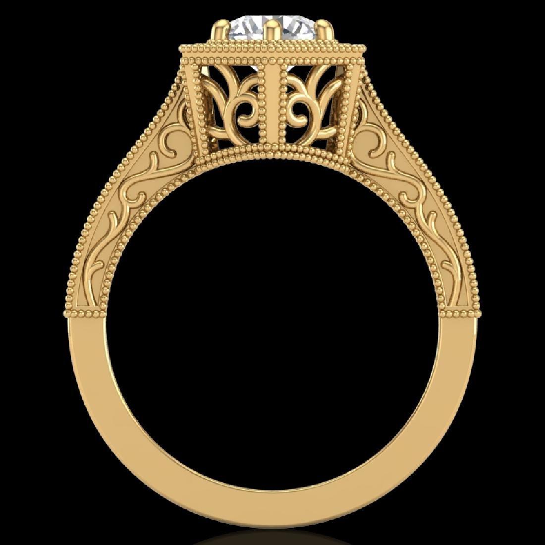 0.77 CTW VS/SI Diamond Art Deco Ring 18K Yellow Gold