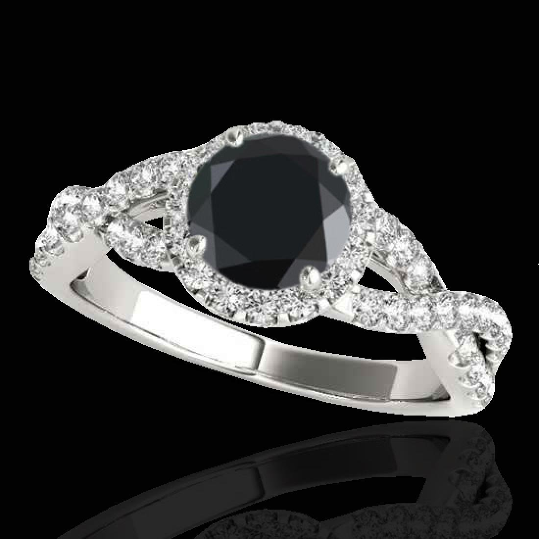 1.54 CTW Certified VS Black Diamond Solitaire Halo Ring