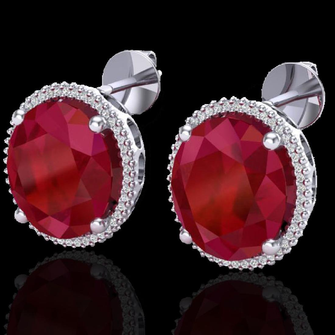 25 CTW Ruby & Micro Pave VS/SI Diamond Halo Earrings