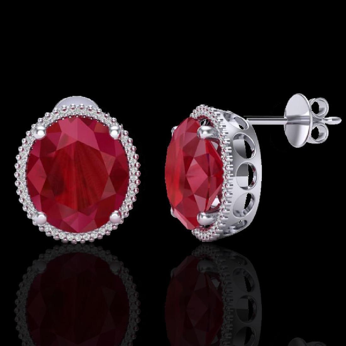25 CTW Ruby & Micro Pave VS/SI Diamond Halo Earrings - 2