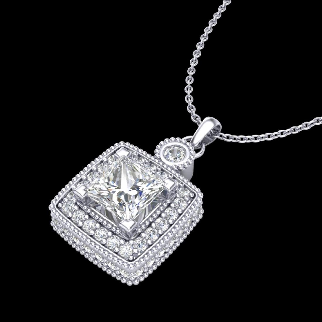 0.91 CTW Princess VS/SI Diamond Art Deco Stud Necklace - 2