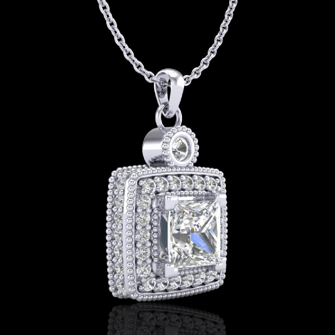 0.91 CTW Princess VS/SI Diamond Art Deco Stud Necklace - 3