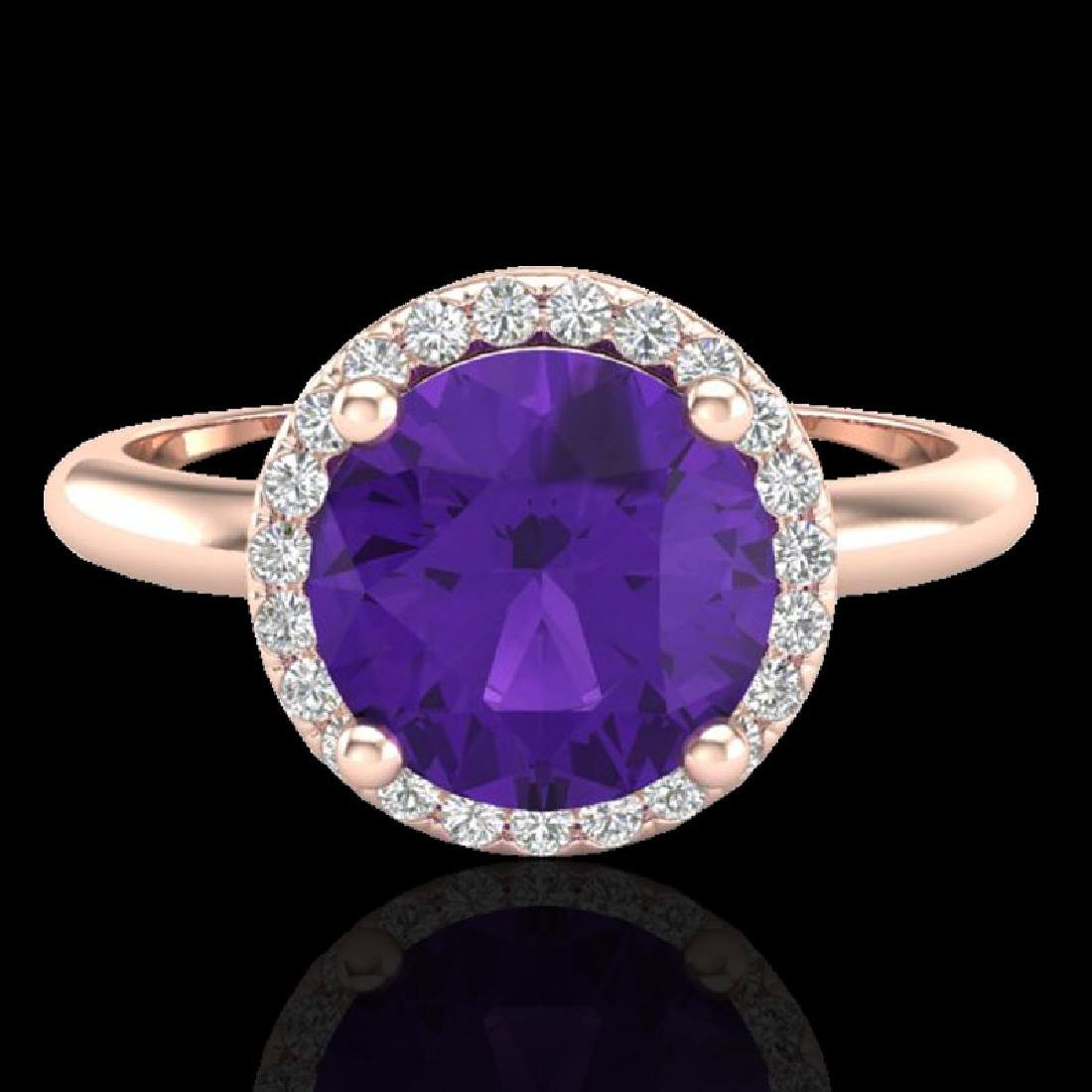 2 CTW Amethyst & Micro Pave VS/SI Diamond Ring Halo 14K