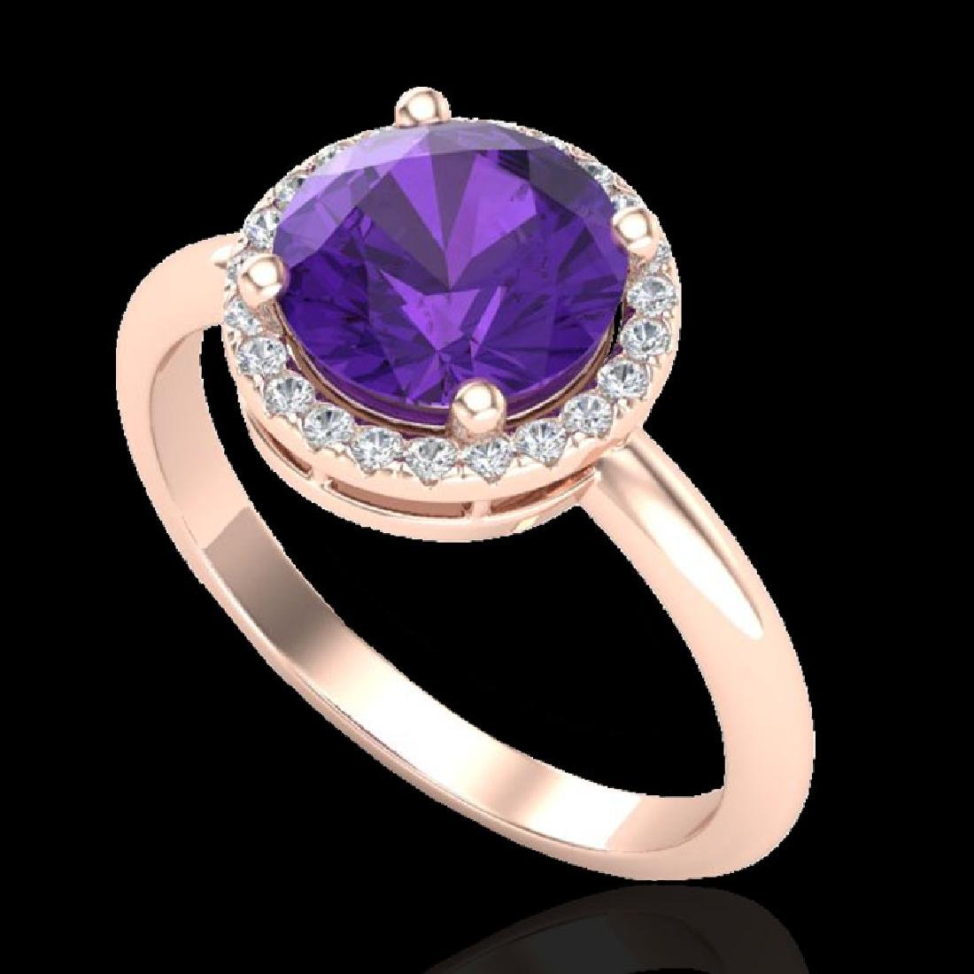 2 CTW Amethyst & Micro Pave VS/SI Diamond Ring Halo 14K - 2