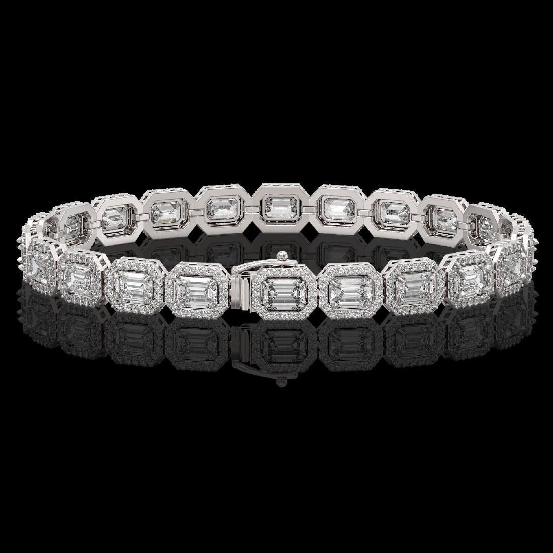 14.57 CTW Emerald Cut Diamond Designer Bracelet 18K - 2