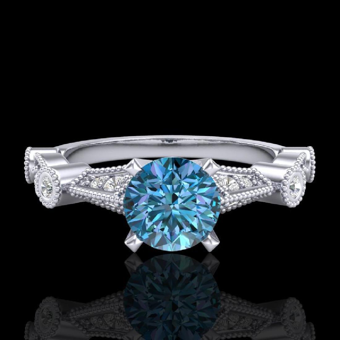 1.03 CTW Fancy Intense Blue Diamond Solitaire Art Deco - 2