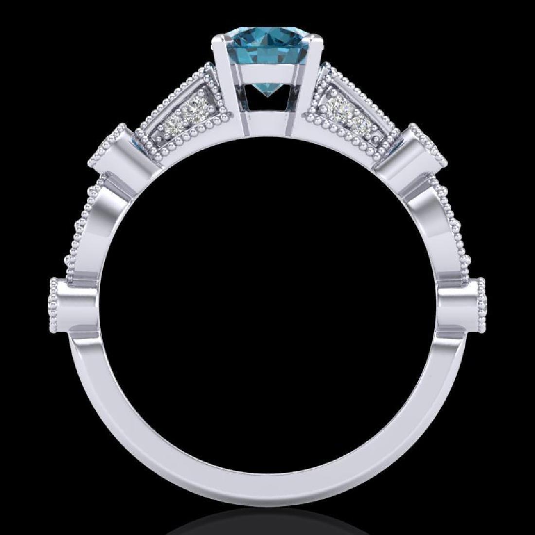 1.03 CTW Fancy Intense Blue Diamond Solitaire Art Deco - 3
