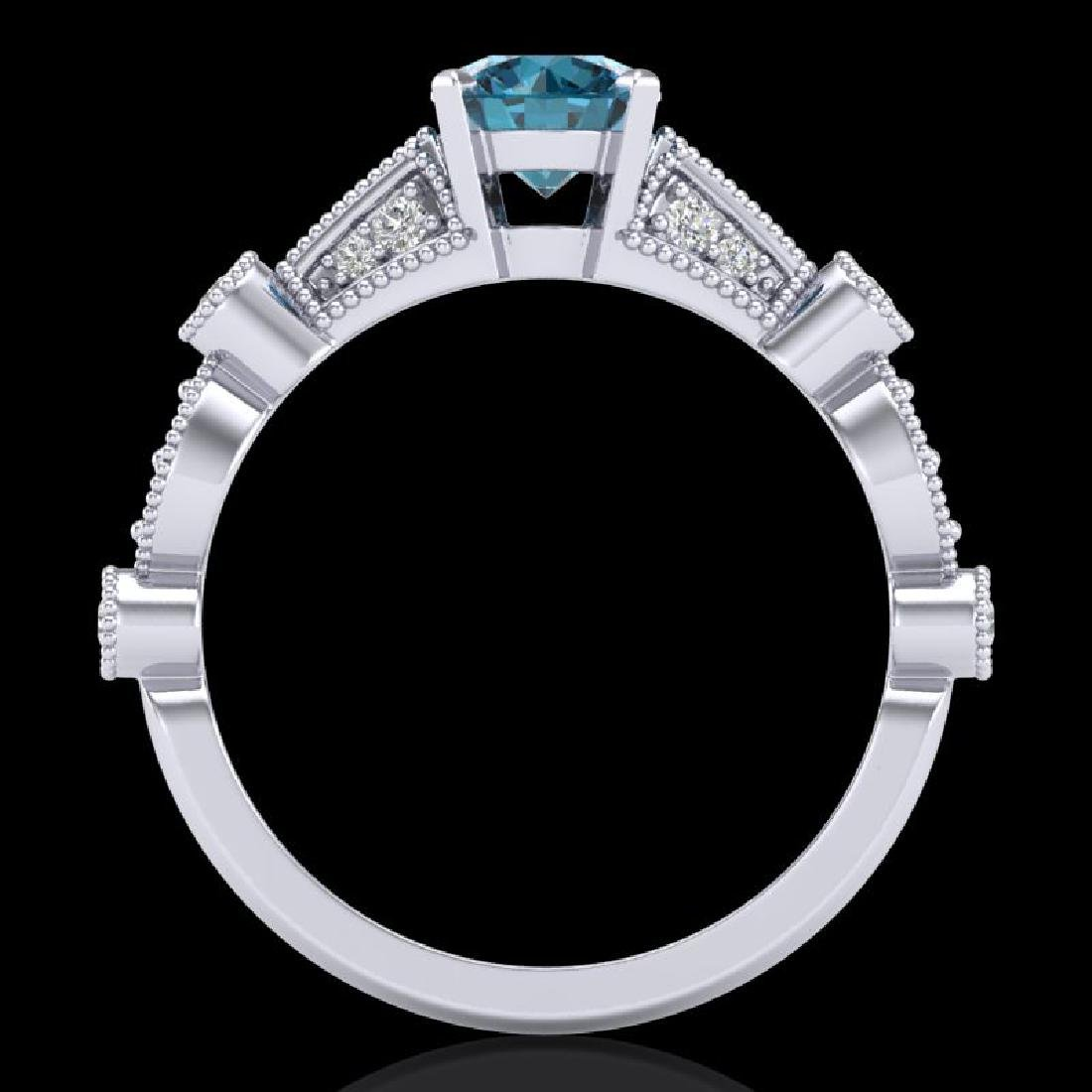 1.03 CTW Fancy Intense Blue Diamond Solitaire Art Deco - 3
