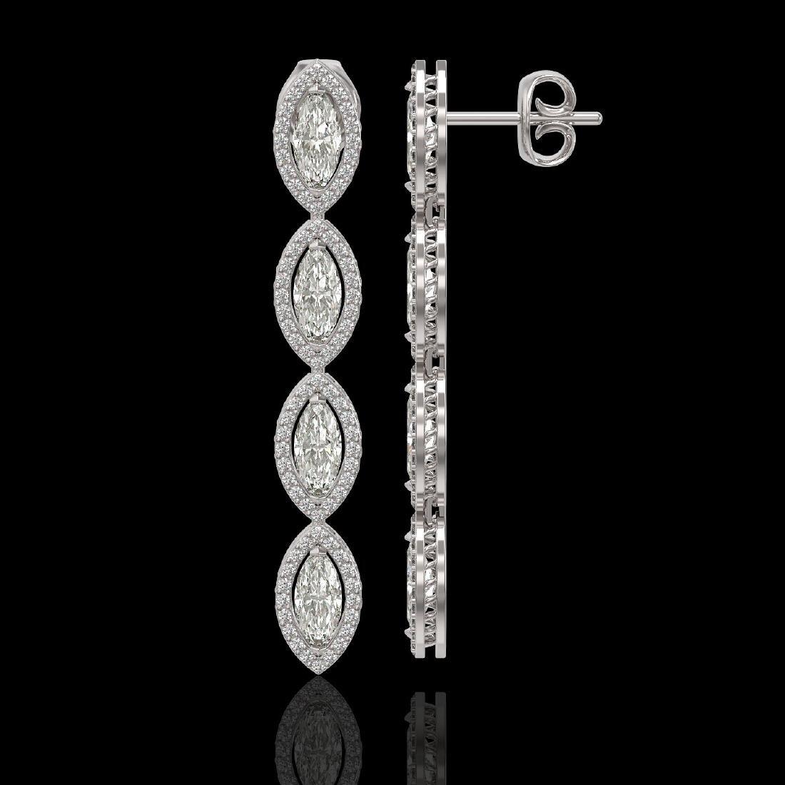 5.33 CTW Marquise Diamond Designer Earrings 18K White - 2