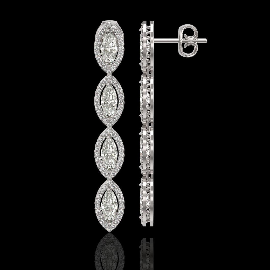 5.33 CTW Marquise Diamond Designer Earrings 18K White - 2