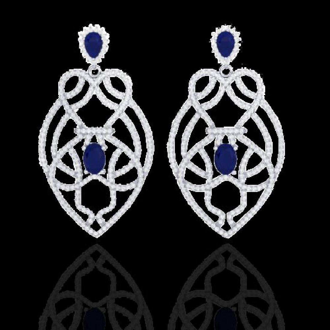 7 CTW Sapphire & Micro VS/SI Diamond Heart Earrings
