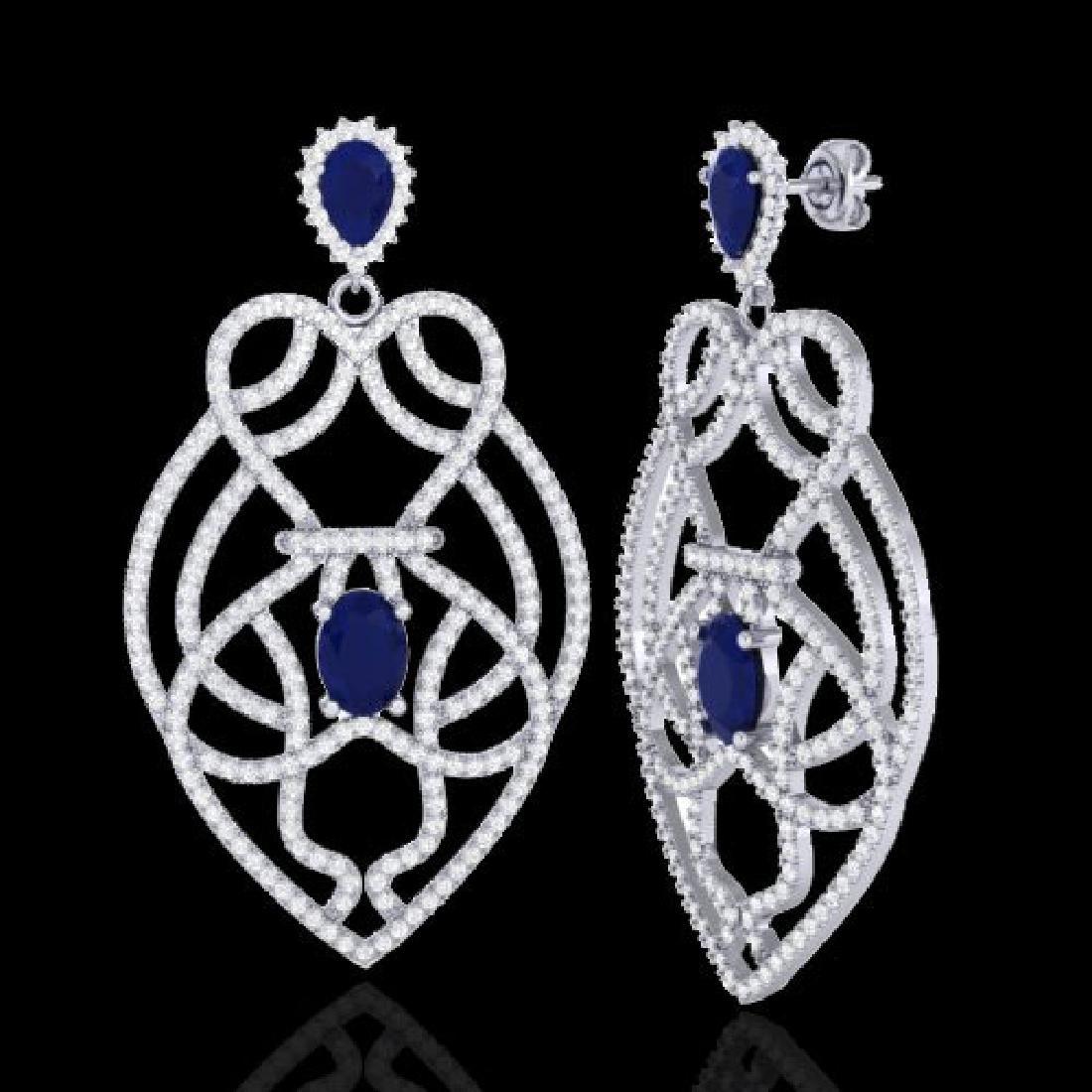 7 CTW Sapphire & Micro VS/SI Diamond Heart Earrings - 2