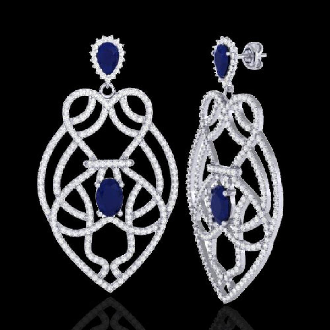 7 CTW Sapphire & Micro VS/SI Diamond Heart Earrings - 2