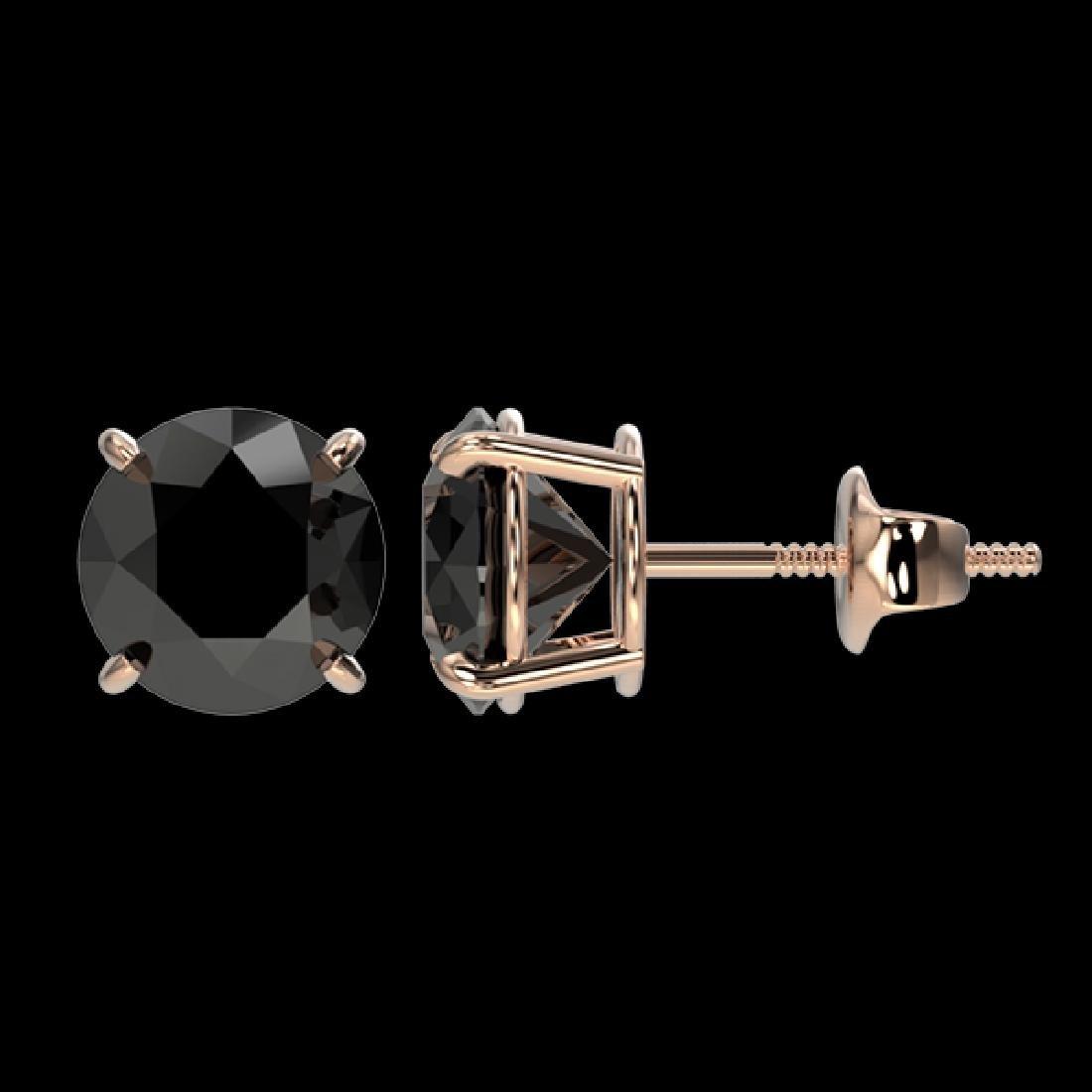 2.13 CTW Fancy Black VS Diamond Solitaire Stud Earrings - 2