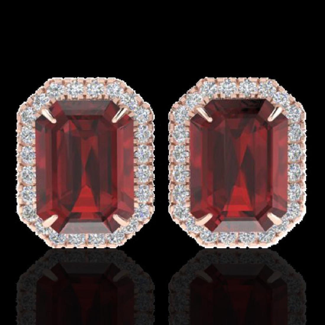 12 CTW Garnet And Micro Pave VS/SI Diamond Halo