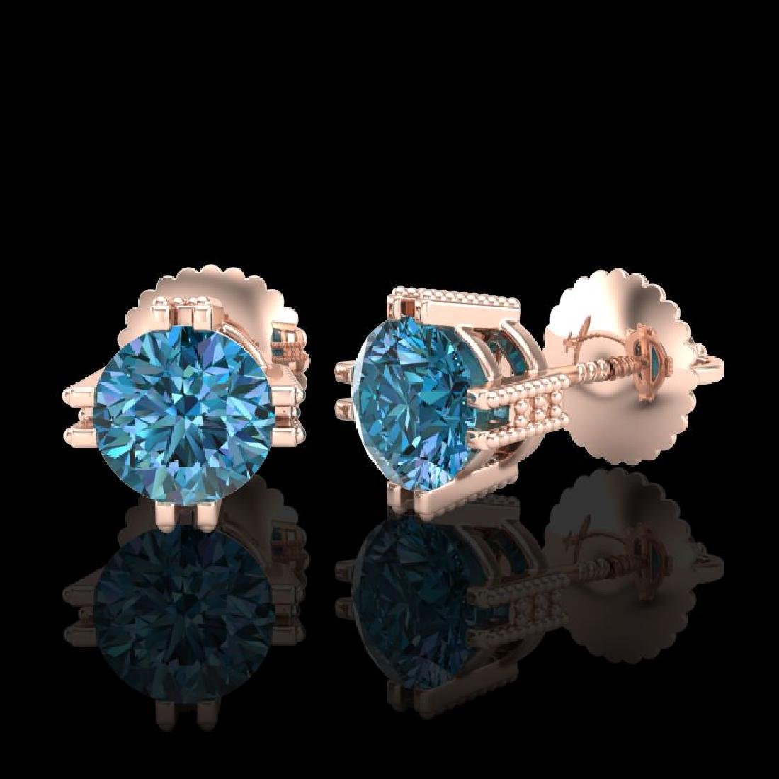 1.07 CTW Fancy Intense Blue Diamond Art Deco Stud - 2