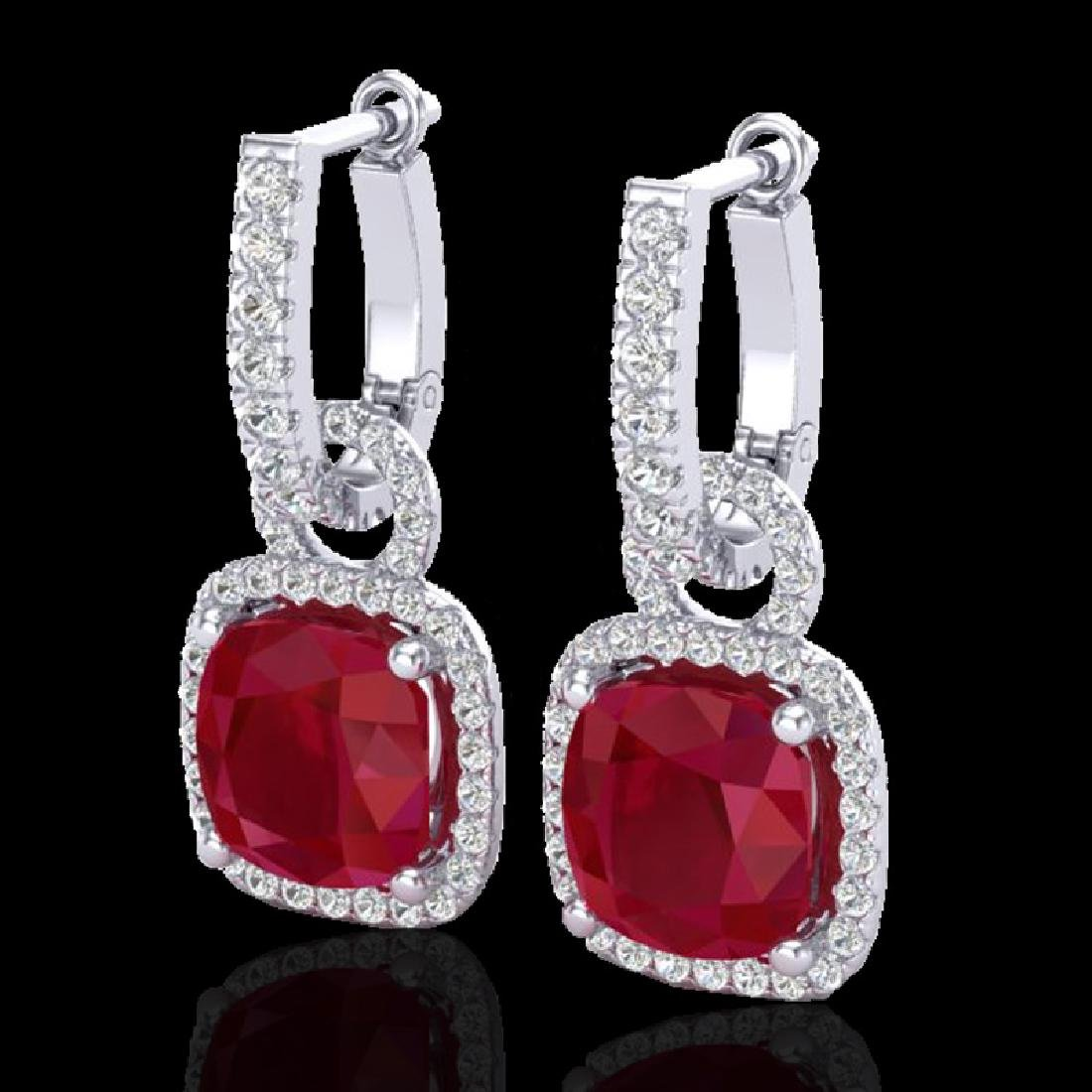 6 CTW Ruby & Micro Pave VS/SI Diamond Earrings 18K