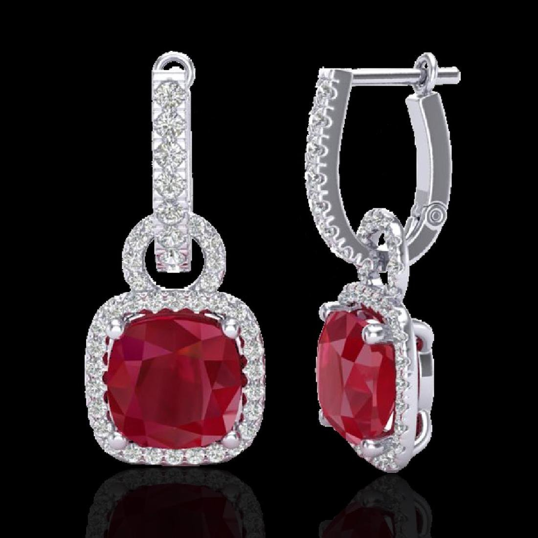 6 CTW Ruby & Micro Pave VS/SI Diamond Earrings 18K - 2