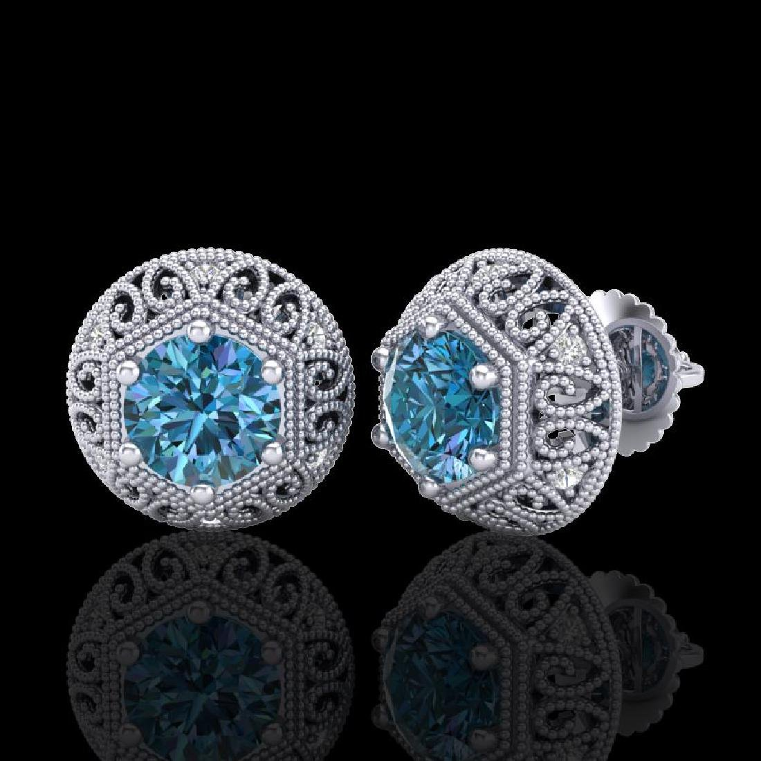 1.31 CTW Fancy Intense Blue Diamond Art Deco Stud - 2