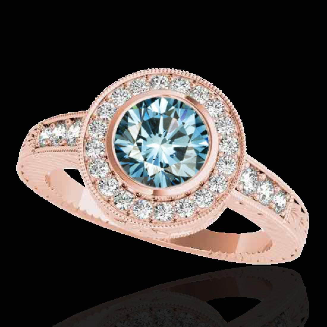 1.50 CTW SI Certified Fancy Blue Diamond Solitaire Halo