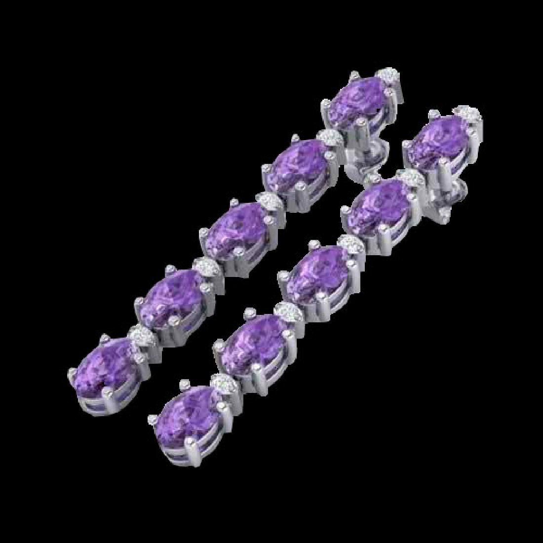 6 CTW Amethyst & VS/SI Diamond Tennis Earrings 10K