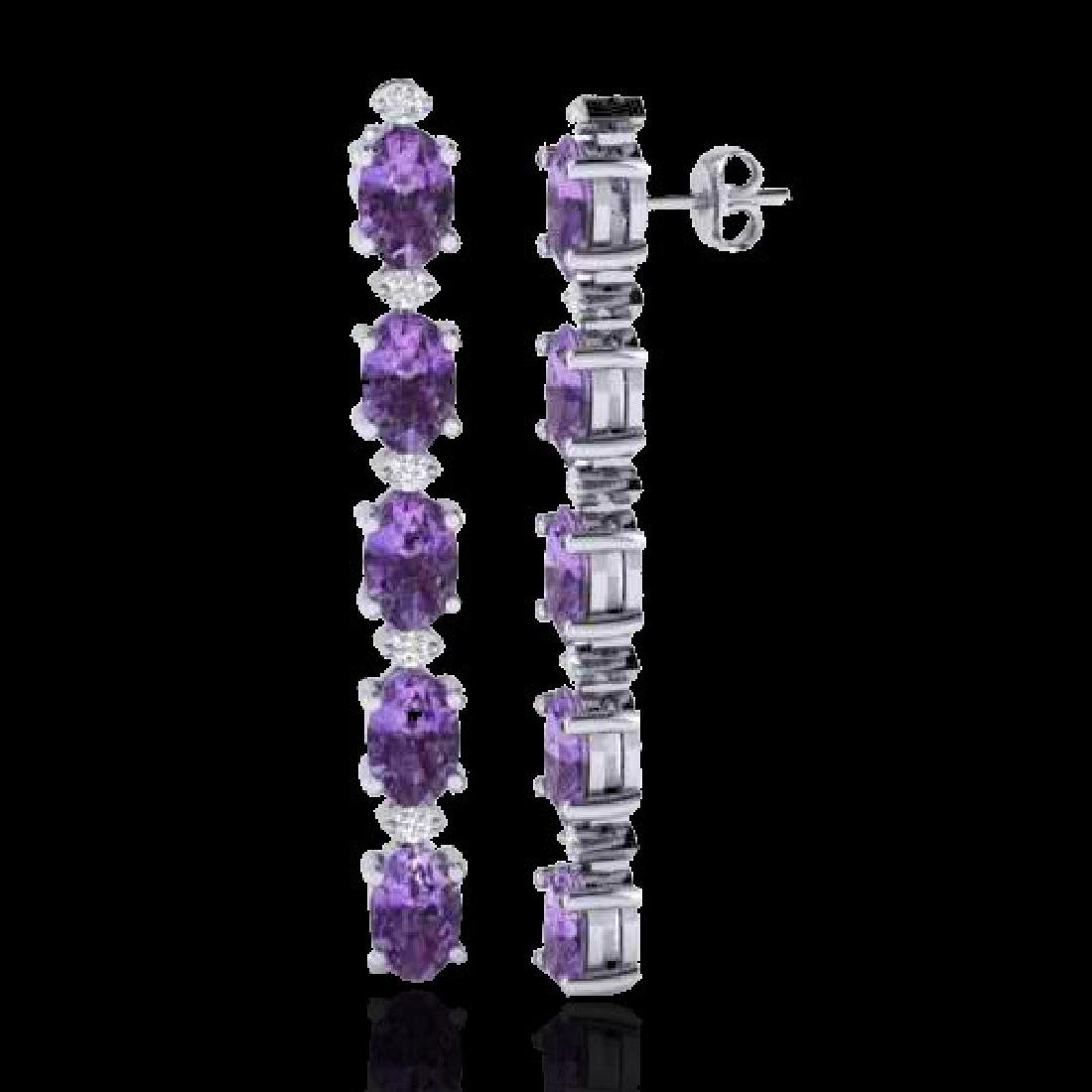 6 CTW Amethyst & VS/SI Diamond Tennis Earrings 10K - 2