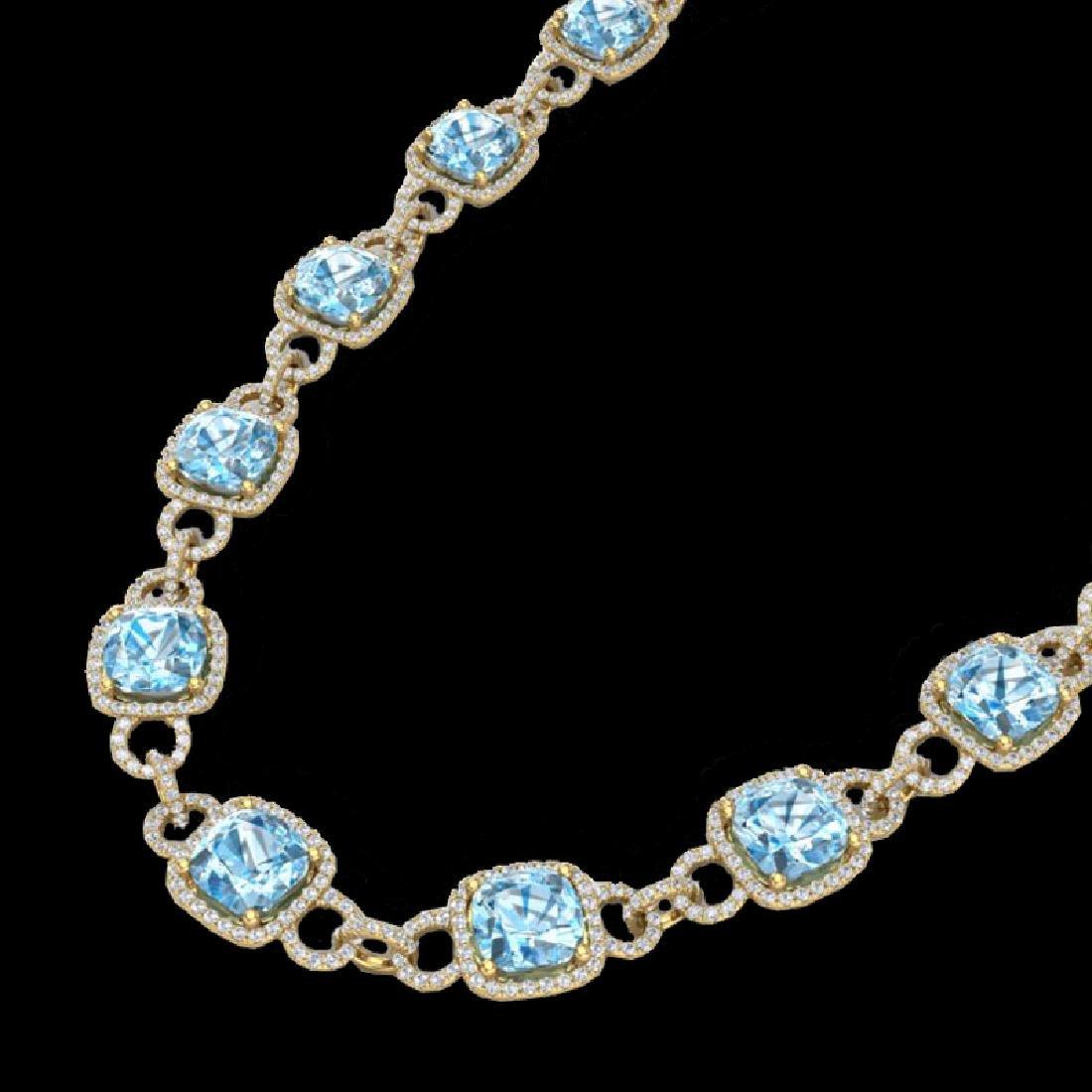 66 CTW Topaz & Micro VS/SI Diamond Eternity Necklace