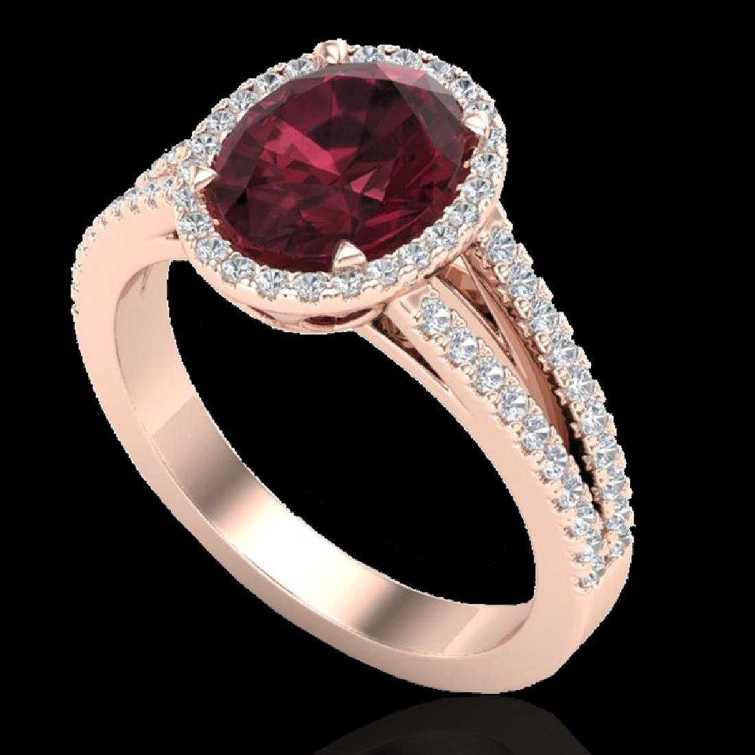 3 CTW Garnet & Micro VS/SI Diamond Halo Solitaire Ring - 2