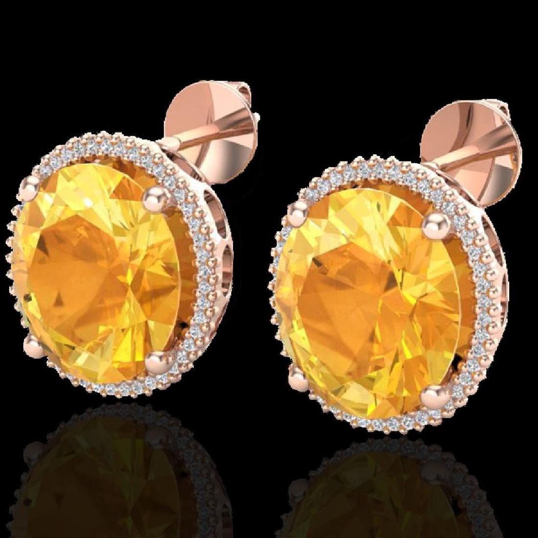 20 CTW Citrine & Micro Pave VS/SI Diamond Halo Earrings
